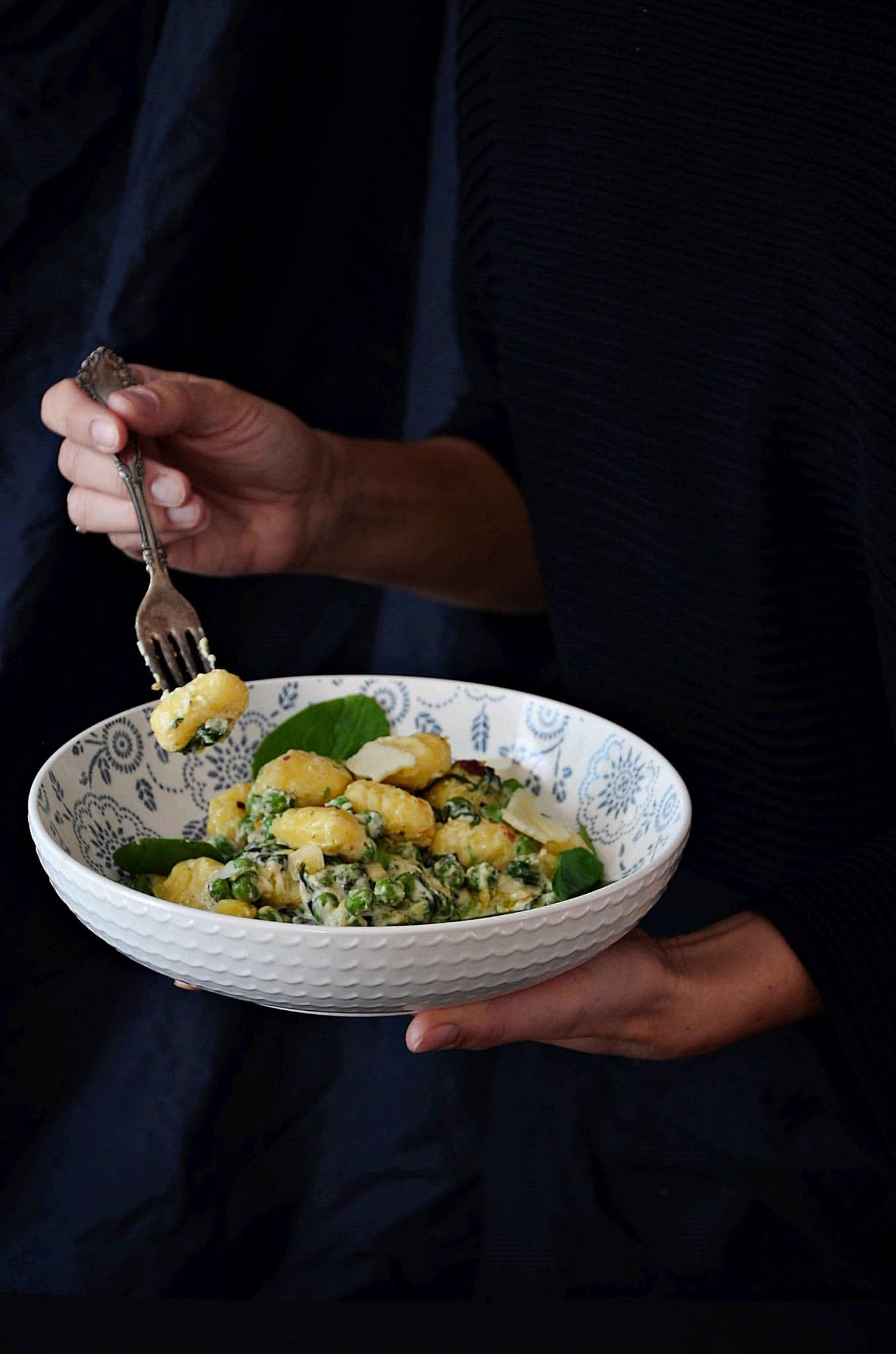 Gnocchi z groszkiem i szpinakiem