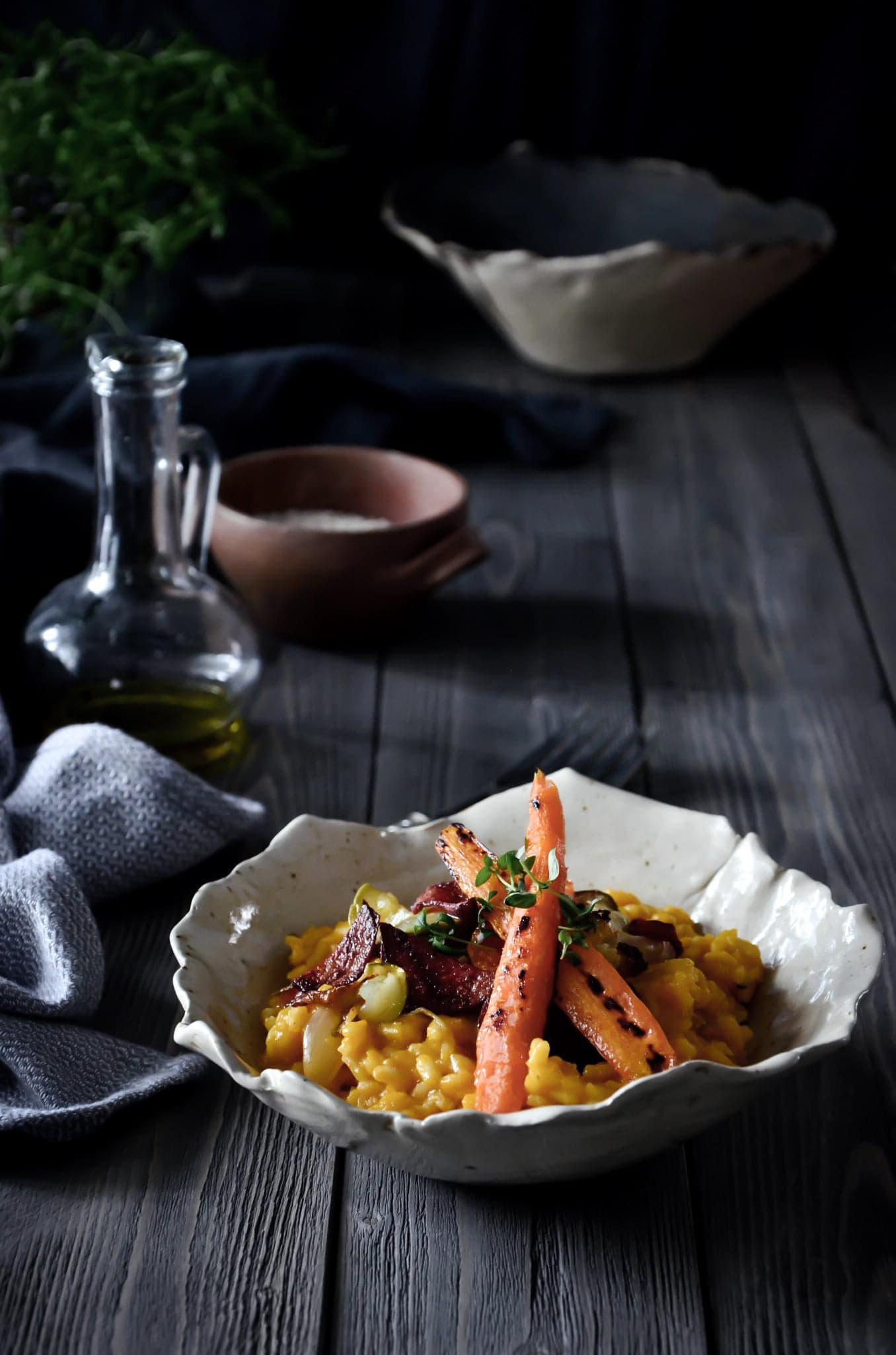 Dyniowe risotto z pieczonymi warzywami.